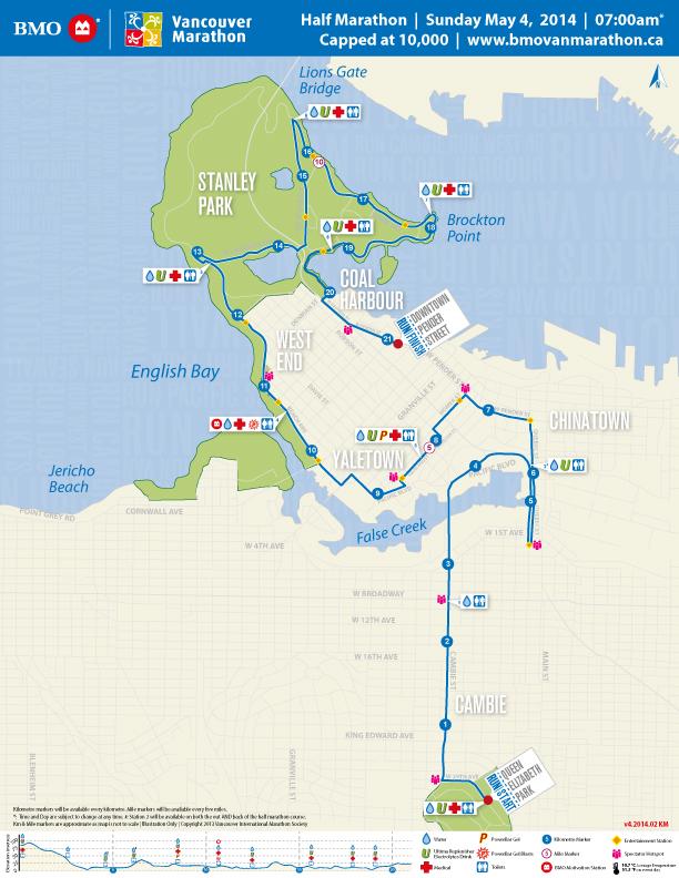 Vancouver Half Marathon Course Map - Image stolen from BMO Vancouver Marathon Site