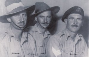 The Stewart Brothers, with my Grandfather on the left.  Known as Charlie to everyone, he was a member of the 2/2nd Australian Machine Gun Battalion, 9th Division AIF (Australian Imperial Force)